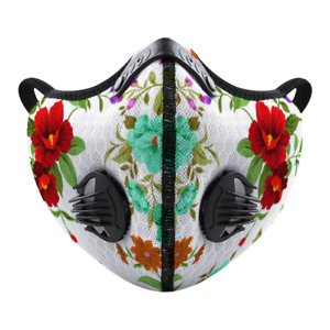 Flowery White Face Mask Covering for Exercise Sports One Size Small to Medium