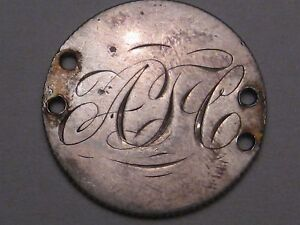 """LOVE TOKEN: Silver Canadian Victoria Dime - Monogrammed """"ATC"""".  #21"""