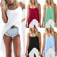 Summer Women's Sleeveless Long Vest Tank Tops Ladies  Chiffon Beach Blouse Shirt