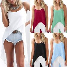 Verano sin Mangas para Mujer Largo Camisetas Damas Gasa Playa Camisa Blusa
