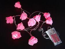 Rosenblütenkette mit 10 LED pink Lichterkette Batterie AA rosa Rosen Deko