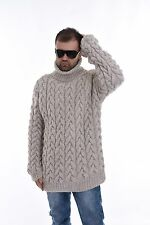 Men`s Hand Knit Wool Cable SWEATER T-neck Handgestrickte Pullover  by SSEu