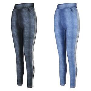 Women Denim Look Leggings Side Glitter Inserts Full Length Ladies Bottoms S-XL