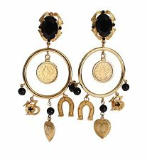 NEW DOLCE & GABBANA Earrings Gold Brass Heart Black Crystal Hoop Dangle Clip On