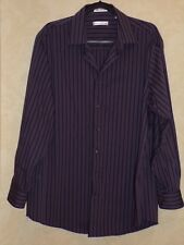 KENNETH COLE Non Iron GRAY Stripe MENS Button-down SHIRT - 17 34/35 Regular Fit