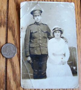 ANTIQUE RPPC Real Photo Postcard SOLDIER HUSBAND BACK FROM WORLD WAR I With Wife