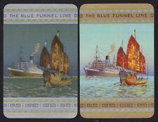 2 Single VINTAGE Swap/Playing Cards BLUE FUNNEL NIGHT + DAY  STEAM SHIP + JUNK