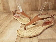 MISSONI Brown Leather Flat Espadrille Thong Sandals Sz 38 US 8