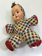 vintage unique vinyl stuffed & plastic face cloth doll1940's Great condition