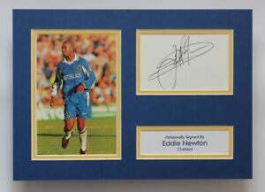 EDDIE NEWTON In Chelsea Shirt HAND SIGNED A4 Autograph Photo Mount Display + COA
