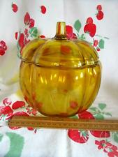 Amber Glass Pumpkin Shaped Candy Cookie Snack Jar