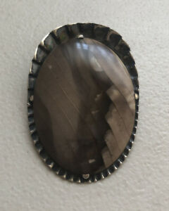 Vintage Bolo Tie Medallion Early 1900's Sterling Silver w/ Tiger's Eye Stone