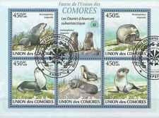 Timbres Faune marine Phoques Comores 1666/70 o de 2009 lot 19456 - cote : 16 €
