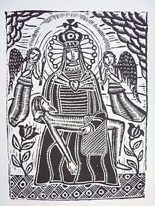 "Original Woodcut Print ""Pieta"" by Lithuanian Traditional Artist"