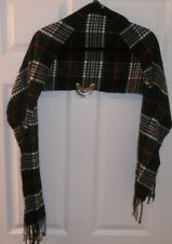 Cashmere muffler, black plaid, 65x12