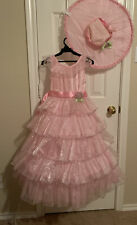 Southern Belle Plantation Child Costume Hoop Skirt Dress W/ Hat Small 5/6 Girl