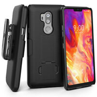 LG G7 ThinQ Belt Clip Case Slim Fit Holster Shell Combo Rubberized Grip - Black