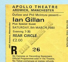 1980 Ian Gillan from Deep Purple Concert Ticket Stub Manchester Glory Road 10/8