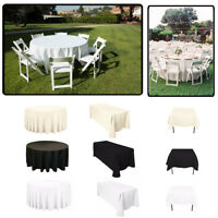 Rectangle Round Polyester Table Cloth Cover Reusable for Wedding Party Decor
