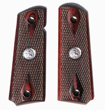 1911 fits COLT DOUBLE DIAMOND CHECKERED ROSEWOOD GRIPS SILVER MED Quick