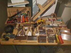 Werkzeug Vintage Maler Spachtel Schreiner Tischler Alt Pinsel Koffer