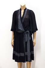Malene Birger Black Sheer Silk Zenia Kimono Wrap Dress Sz S