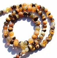 "Natural Gem Australian Boulder Opal Flashy Fire 4 to 7MM Round Bead Necklace 17"""