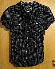 GUESS Rockabilly PolkaDot Button Shirt top M Black White Vneck Ruffle trim blous