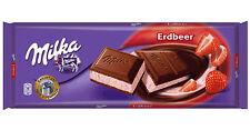 Tablette de 300 gr Milka chocolat fraise, objet livré neuf emballé.