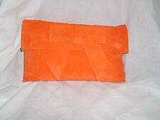 Gran Brillante Naranja De Gamuza (suedette) Bolsa De Embrague / Naranja suedette bolso de hombro