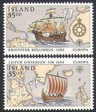 Islandia 1992 Columbus/barcos/Navegación/Náutica/exploración/transporte 2 V Set n34656