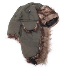 Men Adult Trapper Aviator Trooper Earflap Warm Russian Ski Hat Winter Fur Bomber