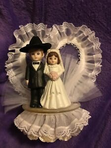 Wedding Cake Topper Cowboy Cowgirl Hat Western Vintage Porcelain & Lace