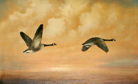 Huge Oil painting Canada Geese nice flying birds in the sky landscape on canvas