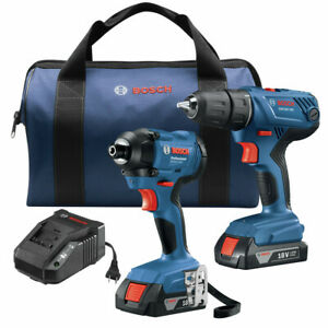 Bosch GXL18V-26B22-RT 18V Drill and Impact Driver Kit Certified Refurbished