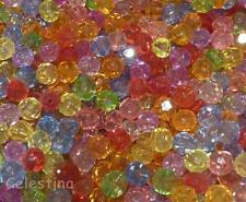 100 Pcs - 10MM Mixed Colours Round Faceted Beads - Rondelle - Acrylic Beads PB86