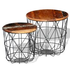 vidaXL 2 Reclaimed Wood Coffee Tables Round 35 Cm/45 Cm