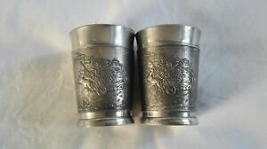 Antique metal crafted pair of shot glass, taquilla shot glass.