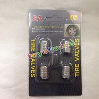(Silver)4PCS Aluminum Tire Wheel Rims Stem Air Valve Caps Tyre Cover Car Truck