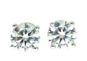 14K White Gold Certified D VVS Round Moissanite Stud Earrings For Women 2.00 Ct