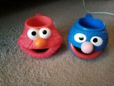 More details for vintage sesame street elmo & grover head mug applause 1994 muppets plastic cup