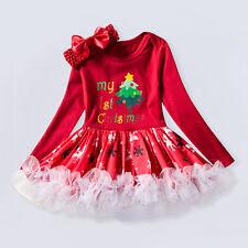 Christmas Red Dress Baby Girl First Christmas Tree Long Sleeve Dress