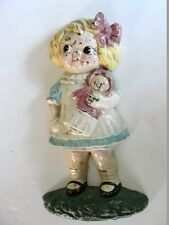 Rare all original vintage 1940' cast iron doorstop, Dolly Dimple by Hubley