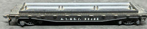 MANTUA:  A.T. & S.F 90806 BLACK Skid Trailer FLAT CAR, HO SCALE VINTAGE DIE CAST