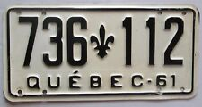 Quebec 1961 License Plate HIGH QUALITY # 736-112