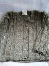 CARRAIG DONN Cotton/Linen Irish  Green Cardigan Sweater Small