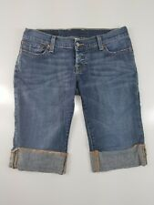 Lucky Brand Med Wash Denim Rolled Hems Embroidered Pockets Shorts 26x13x7""