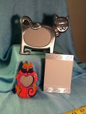 Three Vintage Cat Themed Picture Frames - Metal and Ceramic