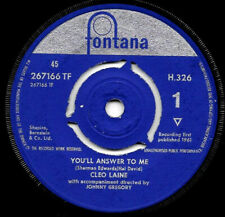 """Cleo Laine You'll Answer to Me/ I Only Have Eyes for You 1961 UK vinyl 7""""45(vg+)"""
