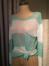 NWOT Nasty Gal Uniq White Mint Green Striped Loose Fit Open Knit Sweater Size S